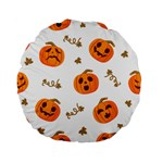 Funny Spooky Halloween Pumpkins Pattern White Orange Standard 15  Premium Flano Round Cushions Front