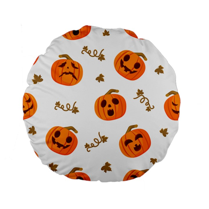 Funny Spooky Halloween Pumpkins Pattern White Orange Standard 15  Premium Flano Round Cushions