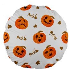 Funny Spooky Halloween Pumpkins Pattern White Orange Large 18  Premium Flano Round Cushions
