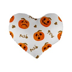 Funny Spooky Halloween Pumpkins Pattern White Orange Standard 16  Premium Flano Heart Shape Cushions