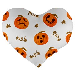 Funny Spooky Halloween Pumpkins Pattern White Orange Large 19  Premium Flano Heart Shape Cushions