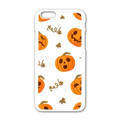 Funny Spooky Halloween Pumpkins Pattern White Orange Apple Iphone 6/6s White Enamel Case