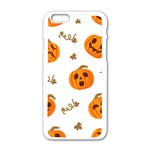 Funny Spooky Halloween Pumpkins Pattern White Orange Apple iPhone 6/6S White Enamel Case Front