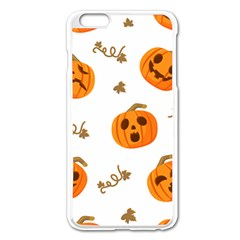 Funny Spooky Halloween Pumpkins Pattern White Orange Apple Iphone 6 Plus/6s Plus Enamel White Case