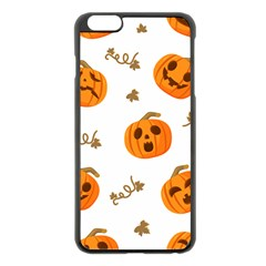 Funny Spooky Halloween Pumpkins Pattern White Orange Apple Iphone 6 Plus/6s Plus Black Enamel Case