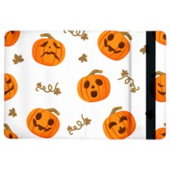 Funny Spooky Halloween Pumpkins Pattern White Orange Ipad Air 2 Flip