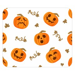 Funny Spooky Halloween Pumpkins Pattern White Orange Double Sided Flano Blanket (small)