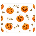 Funny Spooky Halloween Pumpkins Pattern White Orange Double Sided Flano Blanket (Small)  50 x40 Blanket Back