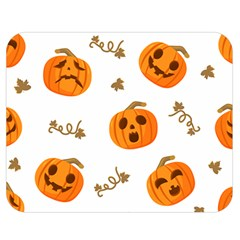 Funny Spooky Halloween Pumpkins Pattern White Orange Double Sided Flano Blanket (medium)