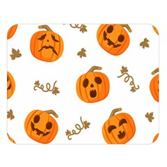 Funny Spooky Halloween Pumpkins Pattern White Orange Double Sided Flano Blanket (large)