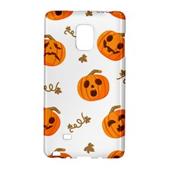 Funny Spooky Halloween Pumpkins Pattern White Orange Samsung Galaxy Note Edge Hardshell Case