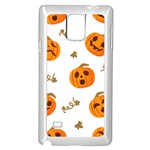 Funny Spooky Halloween Pumpkins Pattern White Orange Samsung Galaxy Note 4 Case (White) Front