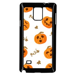 Funny Spooky Halloween Pumpkins Pattern White Orange Samsung Galaxy Note 4 Case (black)