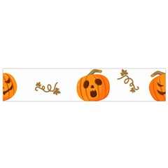 Funny Spooky Halloween Pumpkins Pattern White Orange Small Flano Scarf