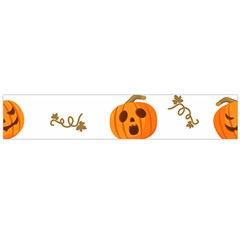 Funny Spooky Halloween Pumpkins Pattern White Orange Large Flano Scarf