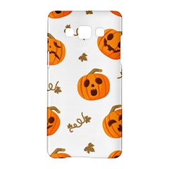 Funny Spooky Halloween Pumpkins Pattern White Orange Samsung Galaxy A5 Hardshell Case