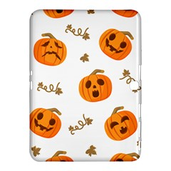 Funny Spooky Halloween Pumpkins Pattern White Orange Samsung Galaxy Tab 4 (10 1 ) Hardshell Case