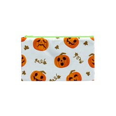 Funny Spooky Halloween Pumpkins Pattern White Orange Cosmetic Bag (xs)
