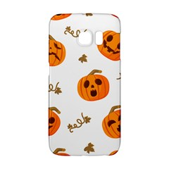 Funny Spooky Halloween Pumpkins Pattern White Orange Samsung Galaxy S6 Edge Hardshell Case by HalloweenParty