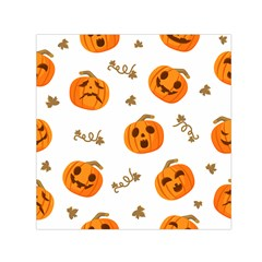 Funny Spooky Halloween Pumpkins Pattern White Orange Small Satin Scarf (square)