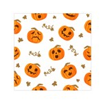Funny Spooky Halloween Pumpkins Pattern White Orange Small Satin Scarf (Square) Front