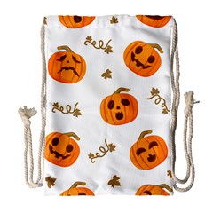 Funny Spooky Halloween Pumpkins Pattern White Orange Drawstring Bag (large) by HalloweenParty