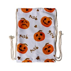 Funny Spooky Halloween Pumpkins Pattern White Orange Drawstring Bag (small)