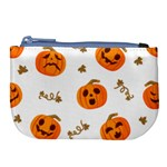 Funny Spooky Halloween Pumpkins Pattern White Orange Large Coin Purse Front