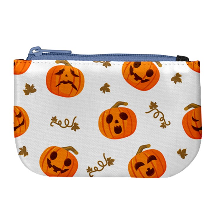 Funny Spooky Halloween Pumpkins Pattern White Orange Large Coin Purse