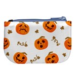 Funny Spooky Halloween Pumpkins Pattern White Orange Large Coin Purse Back