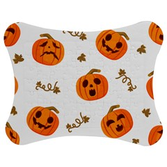 Funny Spooky Halloween Pumpkins Pattern White Orange Jigsaw Puzzle Photo Stand (bow) by HalloweenParty