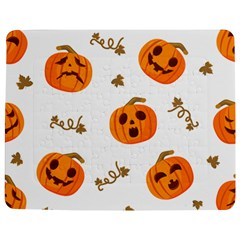 Funny Spooky Halloween Pumpkins Pattern White Orange Jigsaw Puzzle Photo Stand (rectangular)