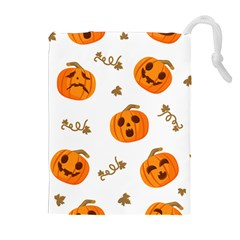 Funny Spooky Halloween Pumpkins Pattern White Orange Drawstring Pouch (xl)