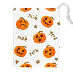 Funny Spooky Halloween Pumpkins Pattern White Orange Drawstring Pouch (xxl)