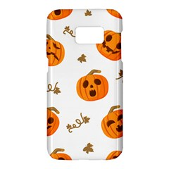 Funny Spooky Halloween Pumpkins Pattern White Orange Samsung Galaxy S7 Hardshell Case