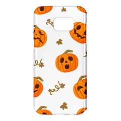 Funny Spooky Halloween Pumpkins Pattern White Orange Samsung Galaxy S7 Edge Hardshell Case