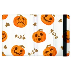 Funny Spooky Halloween Pumpkins Pattern White Orange Apple Ipad Pro 12 9   Flip Case