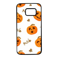 Funny Spooky Halloween Pumpkins Pattern White Orange Samsung Galaxy S7 Black Seamless Case by HalloweenParty
