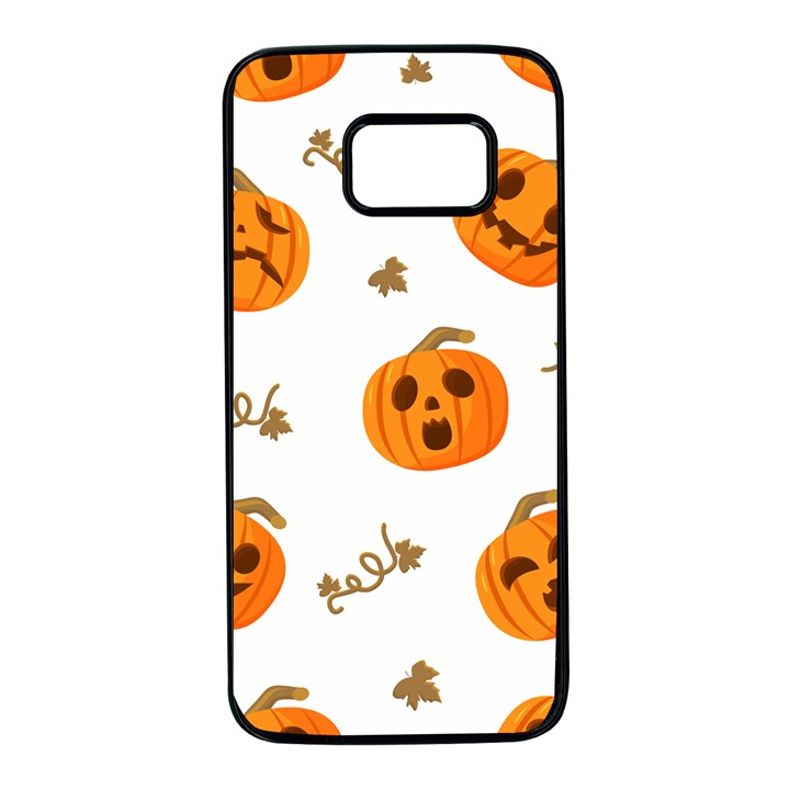 Funny Spooky Halloween Pumpkins Pattern White Orange Samsung Galaxy S7 Black Seamless Case