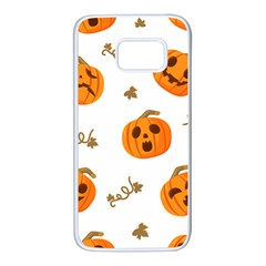 Funny Spooky Halloween Pumpkins Pattern White Orange Samsung Galaxy S7 White Seamless Case