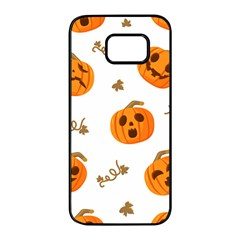 Funny Spooky Halloween Pumpkins Pattern White Orange Samsung Galaxy S7 Edge Black Seamless Case