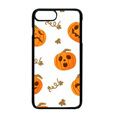 Funny Spooky Halloween Pumpkins Pattern White Orange Apple Iphone 7 Plus Seamless Case (black)
