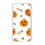 Funny Spooky Halloween Pumpkins Pattern White Orange Apple iPhone 7 Plus Seamless Case (White) Front