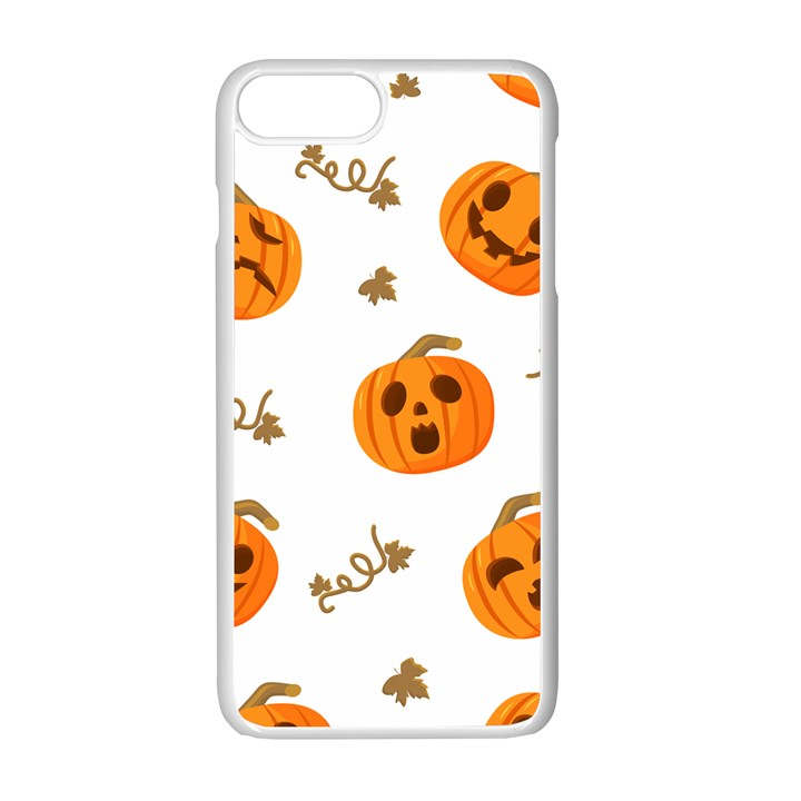 Funny Spooky Halloween Pumpkins Pattern White Orange Apple iPhone 7 Plus Seamless Case (White)
