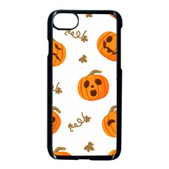 Funny Spooky Halloween Pumpkins Pattern White Orange Apple Iphone 7 Seamless Case (black)