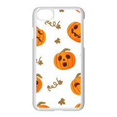 Funny Spooky Halloween Pumpkins Pattern White Orange Apple Iphone 7 Seamless Case (white)