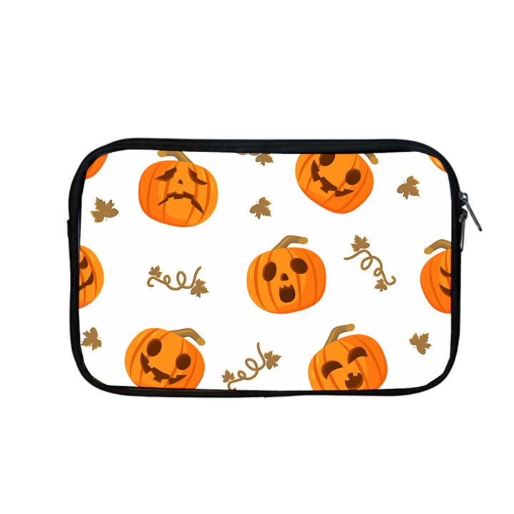 Funny Spooky Halloween Pumpkins Pattern White Orange Apple MacBook Pro 13  Zipper Case