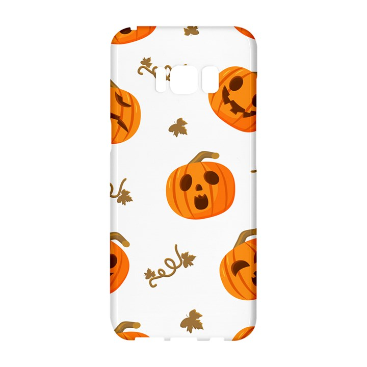Funny Spooky Halloween Pumpkins Pattern White Orange Samsung Galaxy S8 Hardshell Case