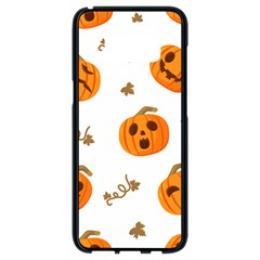 Funny Spooky Halloween Pumpkins Pattern White Orange Samsung Galaxy S8 Black Seamless Case