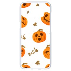 Funny Spooky Halloween Pumpkins Pattern White Orange Samsung Galaxy S8 White Seamless Case